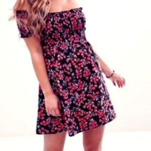 ASOS Petite Off Shoulder Cherry Mini Sundress